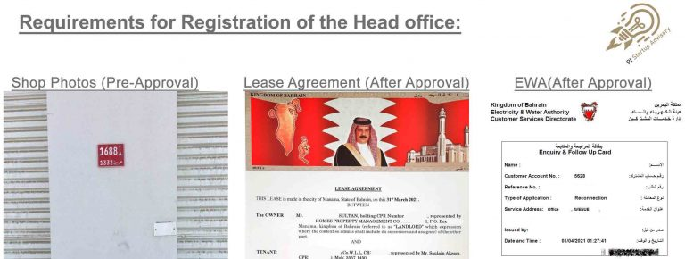 registration of the head office for company formation in bahrain
